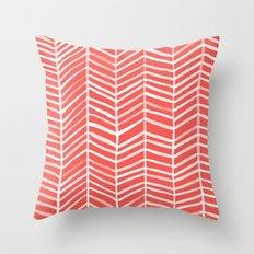 Coral Herringbone Throw Pillow