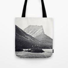 Glacier Mountain Lake Black and White Tote Bag