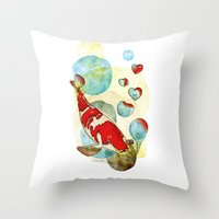 Koi Fish In Love Throw Pillow
