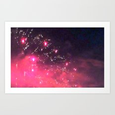 Twilight fireworks Art Print