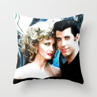 Sandy and Danny from Grease - Painting Style Throw Pillow