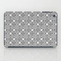 Black and White Broken Diamond Swirl Pattern iPad Case
