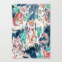 Sitting Tigers Canvas Print