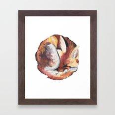 Sleeping Fox in White Framed Art Print