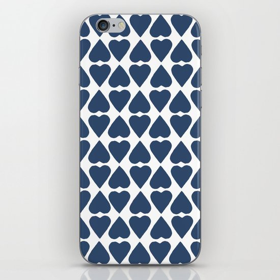 Diamond Hearts Repeat Navy iPhone & iPod Skin