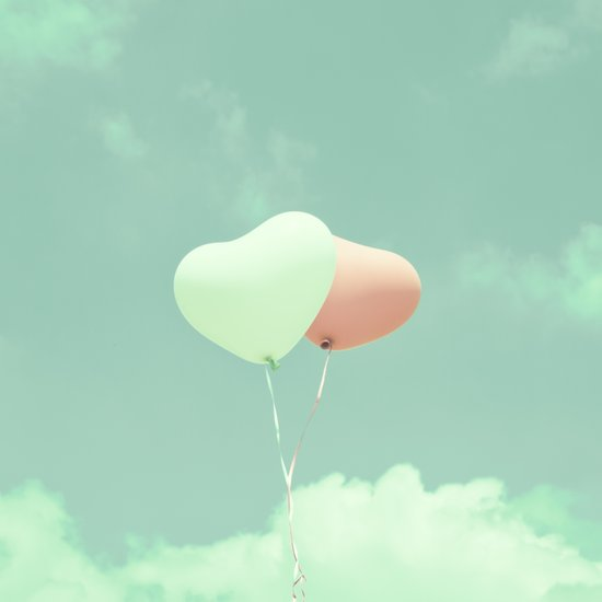 Innocent Love, Pink heart balloons on soft blue sky Art Print