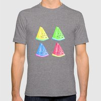 Watermelon Color Mix Mens Fitted Tee Tri-Grey SMALL