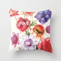XI. Vintage Flowers Botanical Print by Pierre-Joseph Redouté - Anemones Throw Pillow