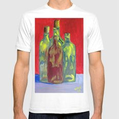 Four Bottles White Mens Fitted Tee SMALL