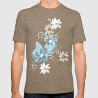 Summer blossom, brown and blue pattern Mens Fitted Tee Tri-Coffee SMALL