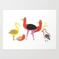 A gathering of birds Art Print