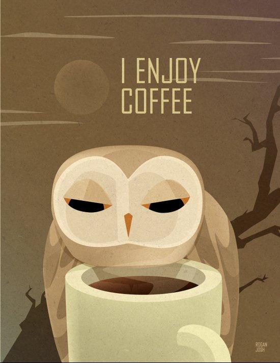 Owl Enjoys Coffee Art Print