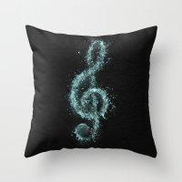Splash music Throw Pillow