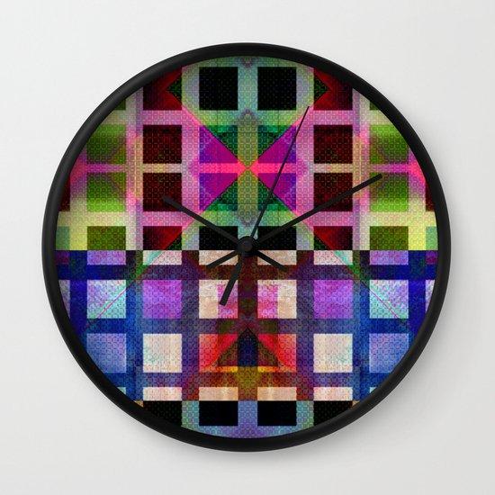 MELANGE OF SQUARES I Wall Clock