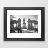 Couple At Madrid Monumen… Framed Art Print