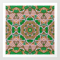 Brown & Green Boho Floral Pattern Art Print