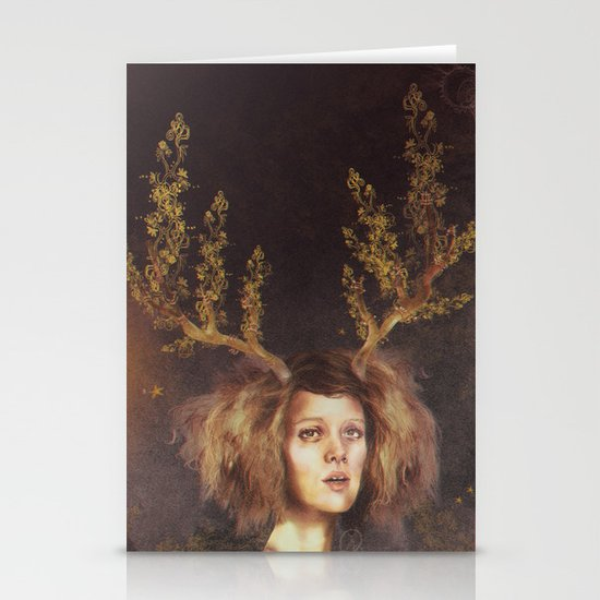 The Golden Antlers Stationery Card