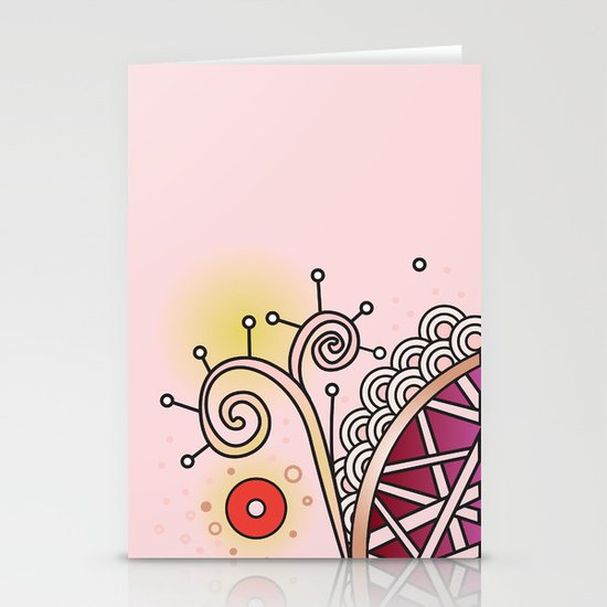 Ornate square zentangle, Skin Tone Base Stationery Card