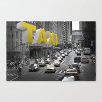 New York Taxi In The Air Canvas Print