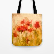 Fiery Poppies In A Golde… Tote Bag