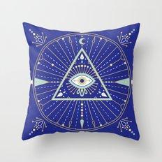 Evil Eye Mandala – Navy Throw Pillow