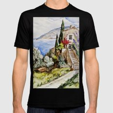 Èze Village Mens Fitted Tee Black SMALL