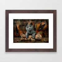 Cat Diesel with teddybear ! Framed Art Print