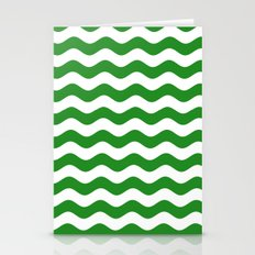 Wavy Stripes (Forest Green/White) Stationery Cards