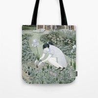 Planting Irises Tote Bag