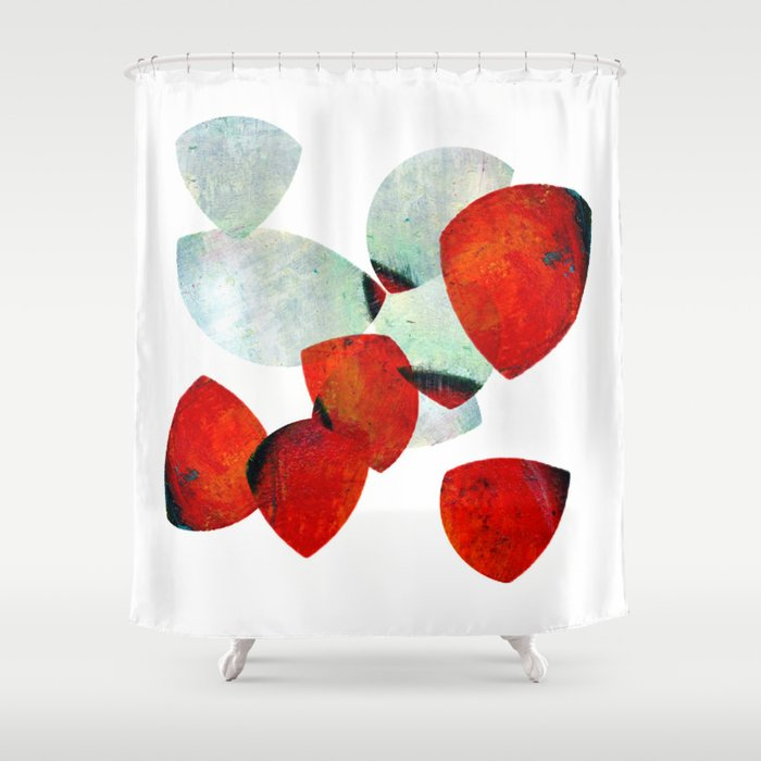 Composition In Red And Grey Shower Curtain By Clemm