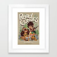 Read Comics Poster Framed Art Print