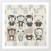 Brown Paper Bears Art Print