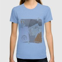 vintage postcards Womens Fitted Tee Athletic Blue SMALL