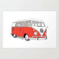 Red Volkswagen Camper Va… Art Print
