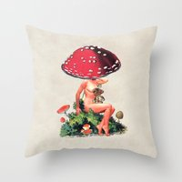 Shroom Girl Throw Pillow
