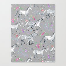 Unicorns and Stars on Soft Grey Canvas Print