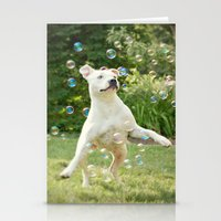 Pitbull and Bubbles  Stationery Cards