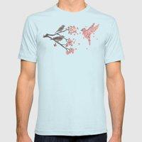 Blossom Bird  Mens Fitted Tee Light Blue SMALL
