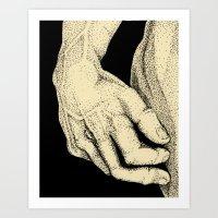 David's Hand In Ink Art Print