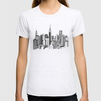 New York Black and White 2 Womens Fitted Tee Ash Grey SMALL