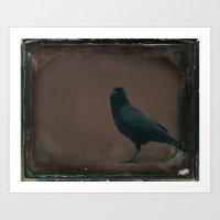 Grunge Crow Art Print