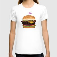 Bacon Cheeseburger Womens Fitted Tee White SMALL