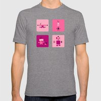 Robots-Pink Mens Fitted Tee Tri-Grey SMALL