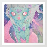 mermaid Art Prints featuring Mermaid by lOll3