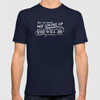 NOT GIVING UP Mens Fitted Tee Navy SMALL