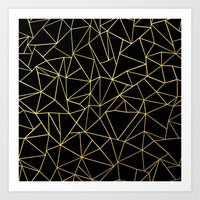 Abstraction Outline Gold… Art Print