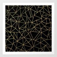 Abstraction Outline Gold on Black Art Print