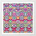 Color Pop Doodle Pattern in Peach, Pink, Purple & Emerald Green Art Print