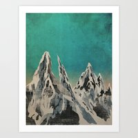 mountains Art Prints featuring Mountains by Amelia Senville