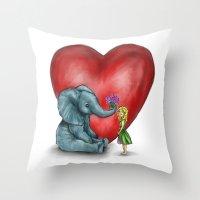 Pachyderm's  bouquet Throw Pillow
